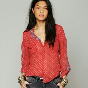 Free People Easy Rider Sheer Button Down Blouse